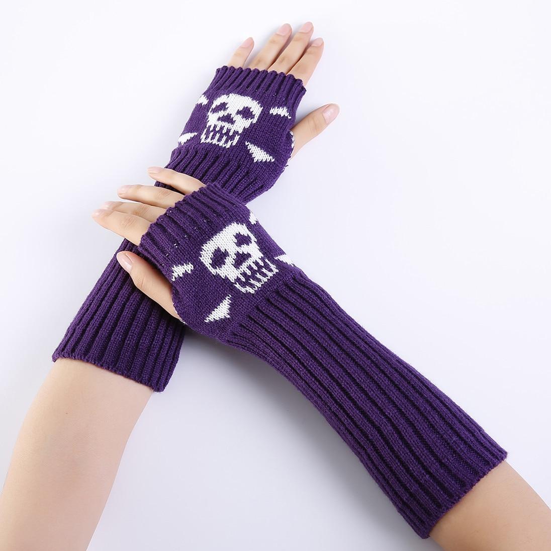 2018 Winter Jacquard Schädel Halbe Finger Mode Warme Handschuhe Damen Gestrickte Ski Arm Wärmer 1 Paar Gut FüR Energie Und Die Milz