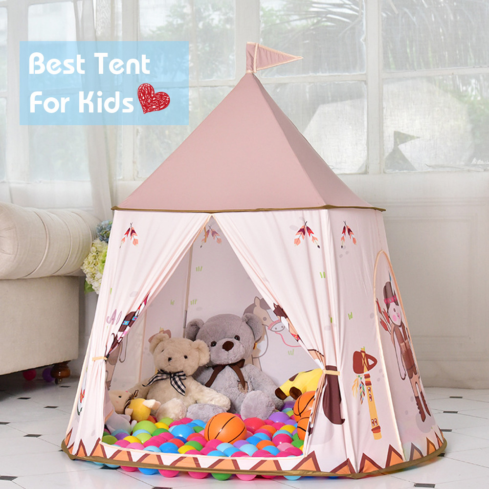 Cartoon Play Tent Portable Children Castle Indian Horse Teepee Tent Prince Princess Play House for Outdoor Indoor Kids Gift