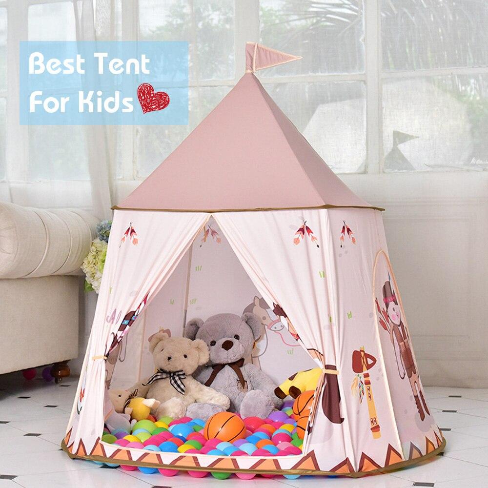 Dessin animé jouer tente Portable enfants château indien cheval tipi tente Prince princesse jouer maison pour extérieur intérieur enfants cadeau