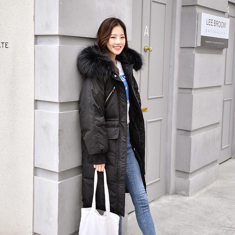 New Winter Jacket Coat Womens Korean Slim Whit Parkas Lady Hooded Faux Fur Collar Windbreaker Pockets