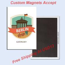 Metal Wrapped Magnets Free Shipping,Berlin cartoon Illstration Wrapped Fridge Magnet 5693 Rigid Metal Souvenir