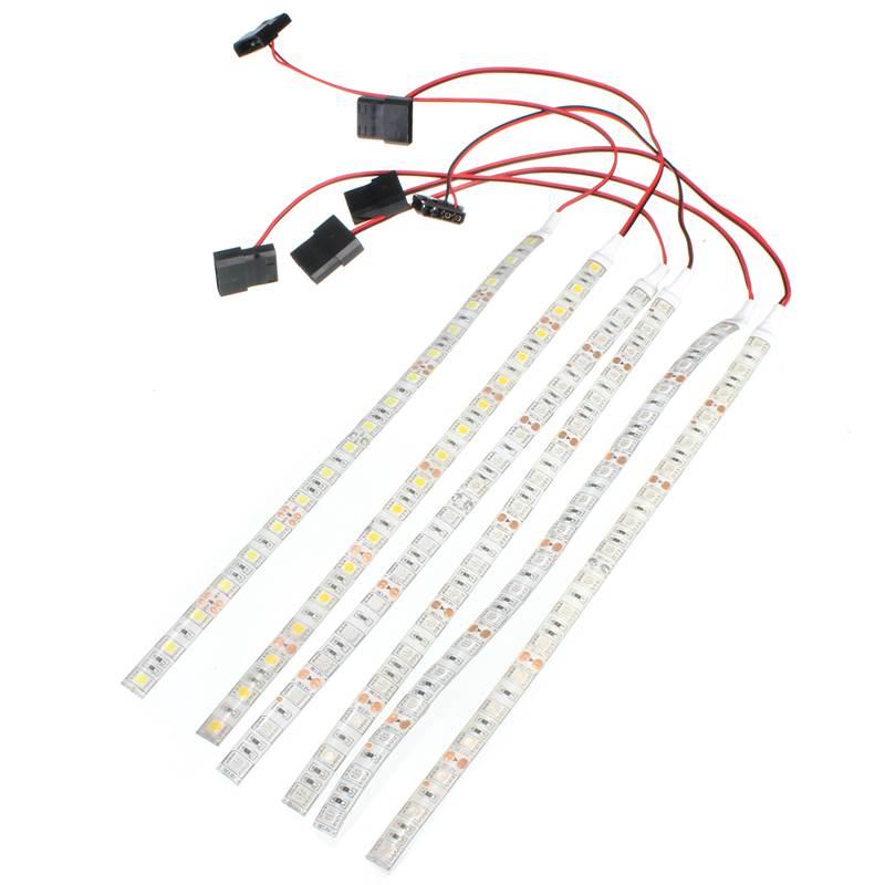 30CM 18 tira de luz LED SMD 5050 pc ordenador caso impermeable tira Flexible cinta de luz DC12V rojo azul verde amarillo blanco cálido