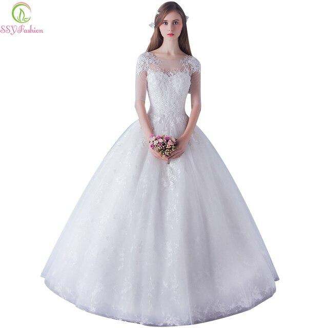 7d22de1b217 Vestido De Noiva SSYFashion mariée élégante dentelle blanche demi manches  v-cou une ligne longue