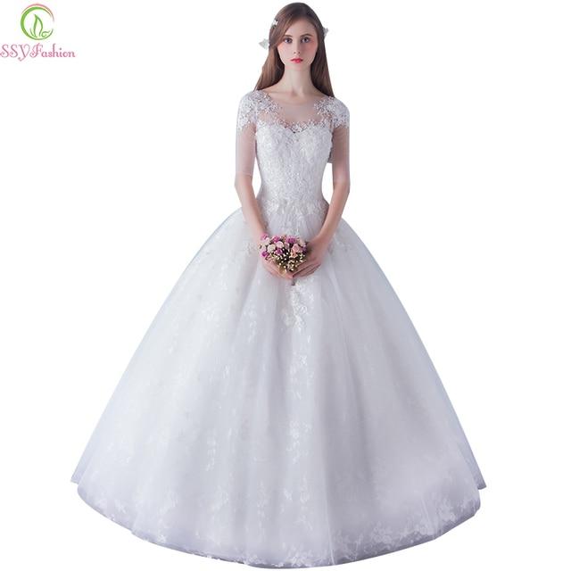 Vestido de noiva ssyfashion braut elegante weiße spitze halbarm v ...