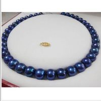 stunning9 10mm tahitian black blue pearl necklace 18inch