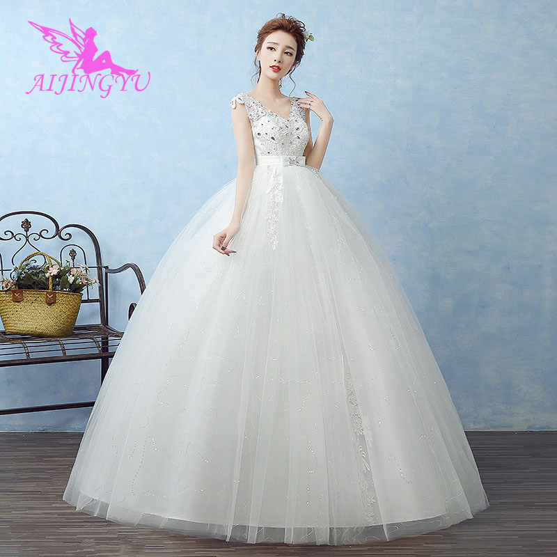 AIJINGYU 2018 luxury free shipping new hot selling cheap ball gown lace up back formal bride dresses wedding dress WK643-in Wedding Dresses from Weddings & Events    2
