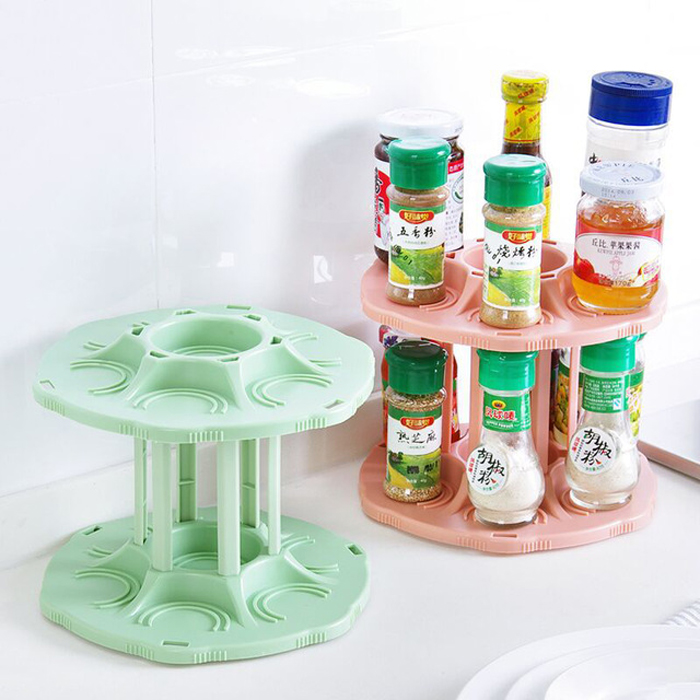 FHEAL 2 Tiers 360 Degree Rotating Beverage Can Storage Rack Kitchen Spice Jar Condiment Bottles Tray Drink Organizer Holder (1)
