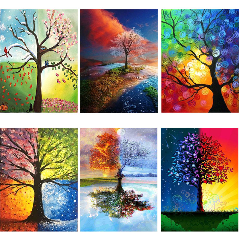 Four Seasons Tree Landscape DIY Diamond Painting Accessory Full Square Drill 5D Embroidery Cross Stitch Mosaic Home Decoration