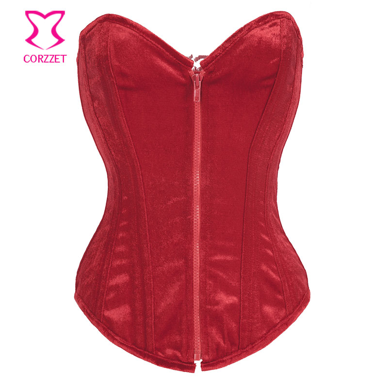 Gothic Red Flannel Zipper Overbust Steel Boned   Corsets   And   Bustiers   Sexy Women   Corset   Waist Trainer Espartilhos E Corpetes