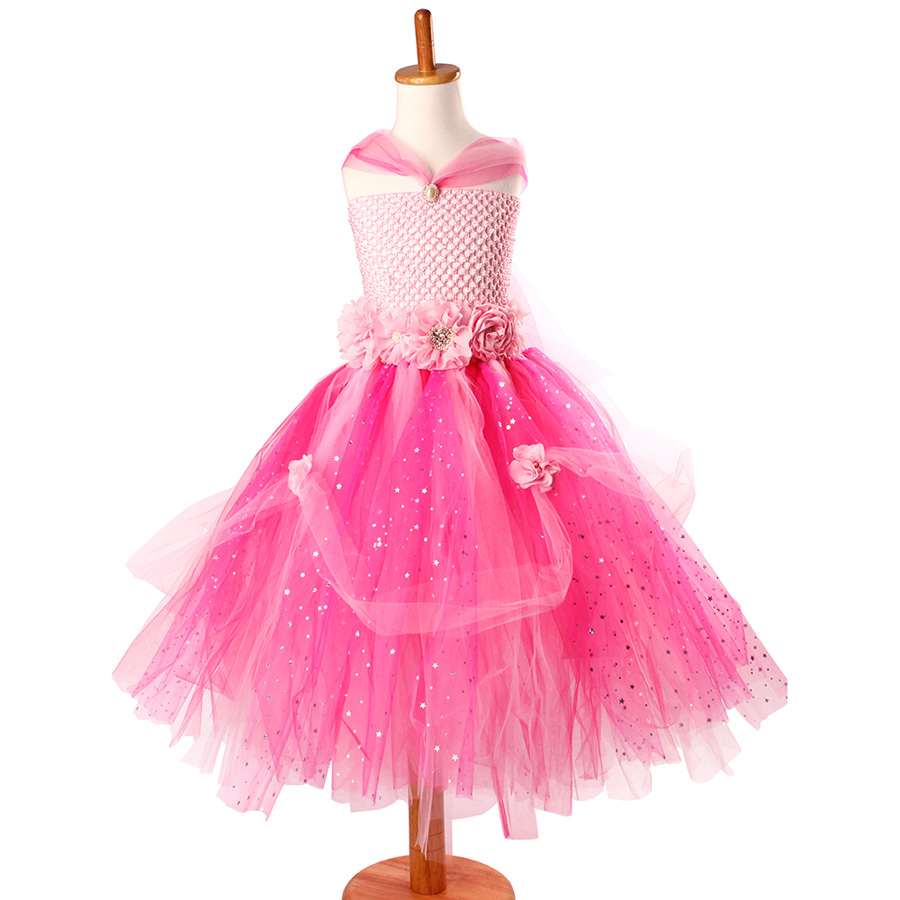 Beautiful Princess Tutu Gown for Weddings Birthday Dress Baby Girl Flower Tutu Dress Glittery Children Fancy Party Christmas Costumes (2)