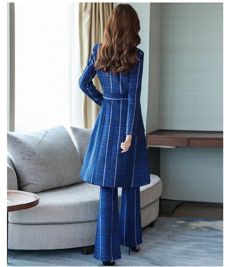 D'affaires Uniforme Longue Costumes Pantalon Office Deux Blazer Veste Bleu Femmes Ensembles Style pièce Printemps Coréen Plaid Lady nXWxYEwFIf