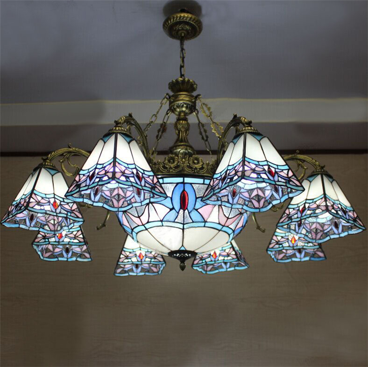 European Vintage Glass Pendant Light Artistic Pastoral Tiffany Bar Cafe Lamp Dining Room Pendant Light Dia 98cm 11 Lights loft vintage edison glass light ceiling lamp cafe dining bar club aisle t300