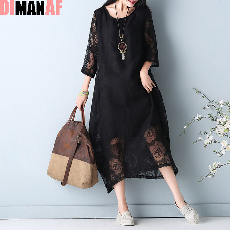 Plus Size Women Dress Summer Style Sexy Lace Patchwork Floral Fashion Vintage Female Casual Vestidos Dress Show Thin Large Dress