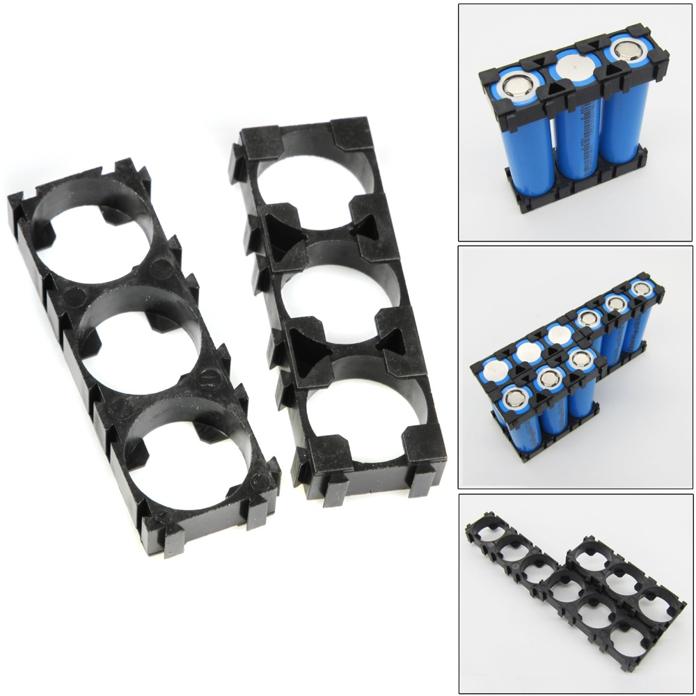 10pcs 3-Cells 18650 Battery Spacer Holders Cylindrical Battery Bracket Radiating Shell Plastic Batteries Box