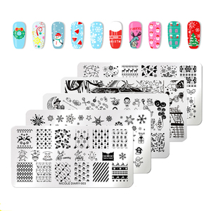 Image 1 - NICOLE DIARY Christmas Halloween Nail Art Stamping Plate Snow Ghost Image Printing Template Festival New Year Nail Stamp Stencil