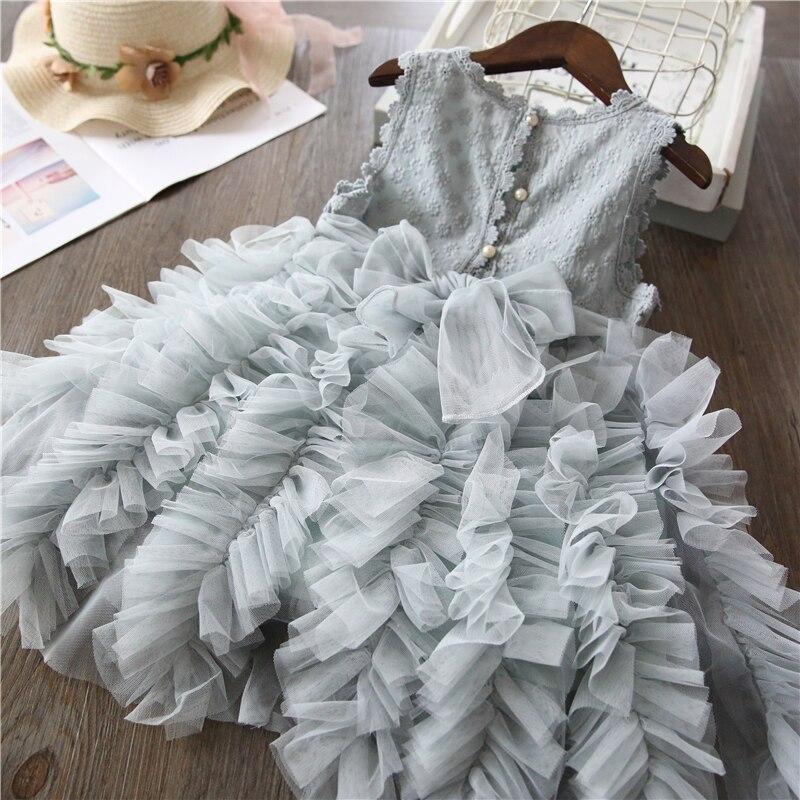 Summer Kids Dresses For Girls Tutu Fluffy Cake Smash Dress Elegant Princess Party Wedding