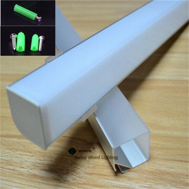 10Pcs of 1m 90 degree pendant aluminum profile for double row led strip milky transparent cover