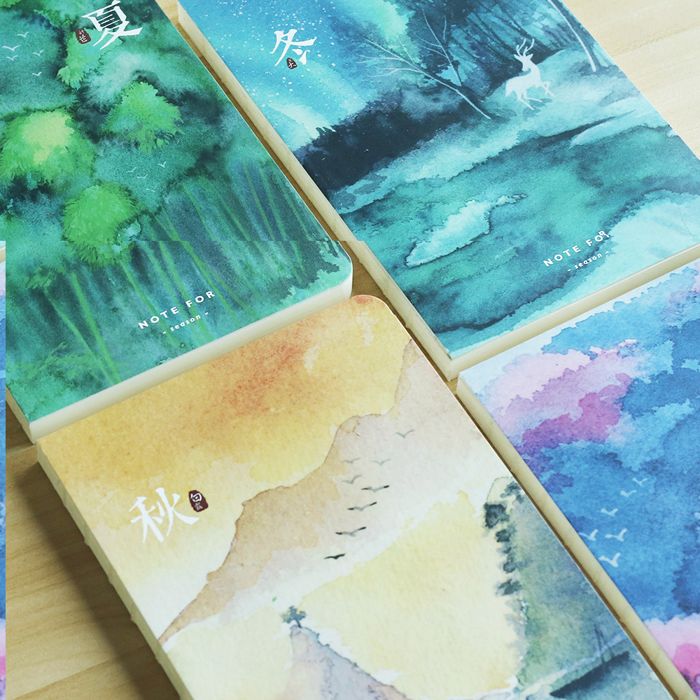 NOTE FOR Four Seasons A5 Japanese Vintage Painting Notebook 100G Paper Blank Pages Notebook Sketchbook DIY Diary Gift romantic cute flower and cat kittens japanese notebook blank pages stitching binding diy journal diary note book sketchbook