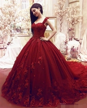 2018 Fashion Sweet 16 Quinceanera Dresses Ball Gown Lace 3D Floral Appliques Beaded Masquerade Puffy Long Prom dress Formal Wear
