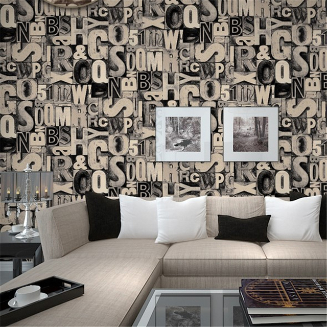 US $31.39 27% OFF|Beibehang Grau Brief Tapete Amerikanischen Retro Bar KTV  Theme Restaurant Internet Tapete wohnzimmer tapete papel de pared in ...