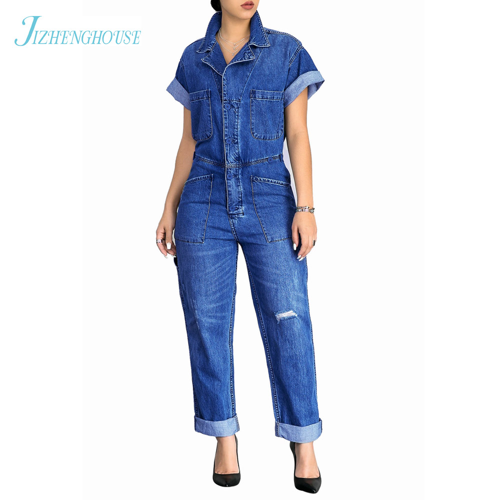 JIZHENGHOUSE Hot Clothes Women Denim Jumpsuits Rompers Jeans Trousers Casual Vintage Overalls Pants Female Jumpsuit