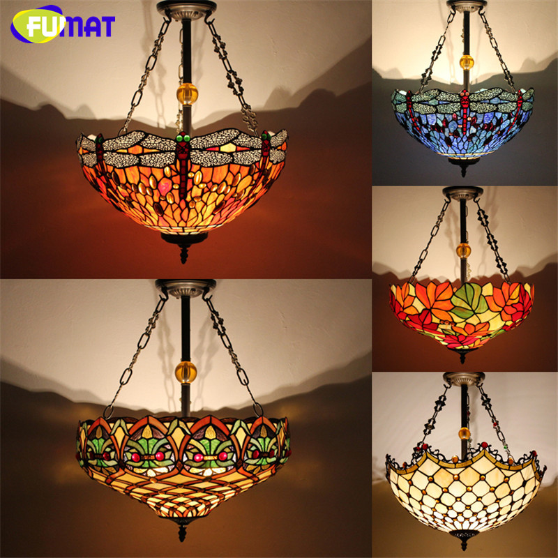 Antique Country Style Tiffany Lamp Stained Glass Suspension Lights Dragonfly Flower Restaurant Kitchen Lamp Hotel Project Lamp