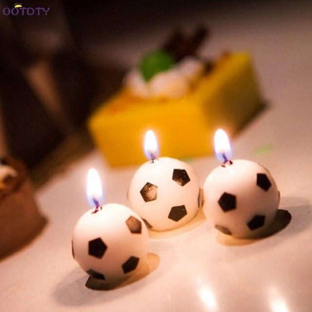 3 Stucke Fussball Ball Fussball Form Glucklich Geburtstag Kerze Kuchen