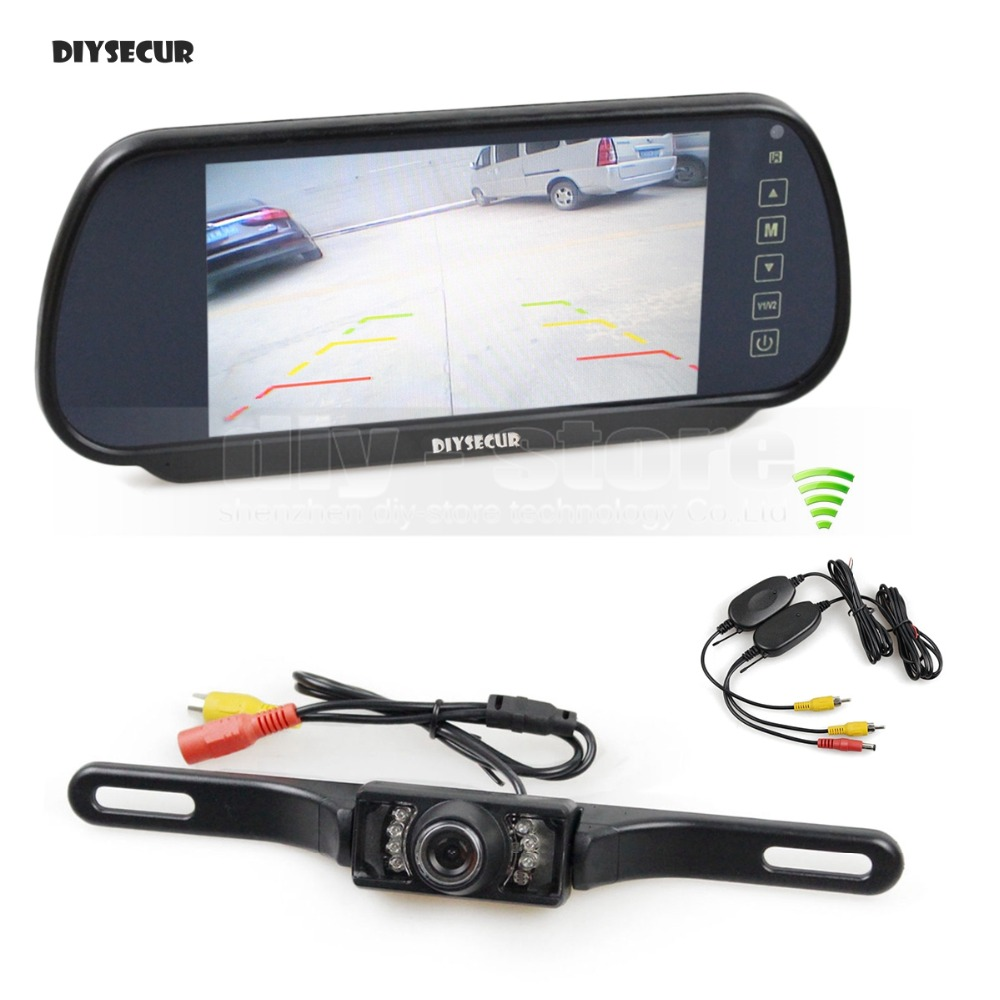 DIYSECUR Wireless Parking System IR Night Vision HD Rear View Car Camera With 7 inch Car