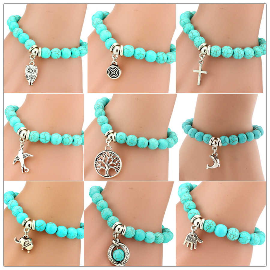 pulseras mujer Trendy Boho Sandals Beads Turquoises bracelet cuff for Women Men Hand Pendant yanwen Charm Beach Bracelet Bangle