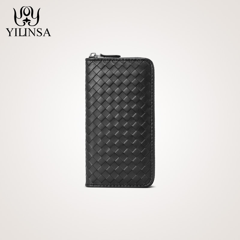 The first layer of leather black woven zipper wallet couple long hand bag men's leather handbag Ms.