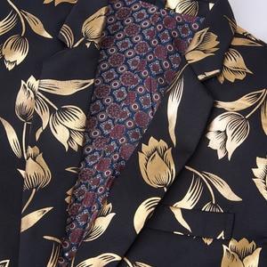 Image 3 - Pyjtrl Thời Trang Vàng Hoa Tulip Hoa Văn Cổ Áo Nam Phù Hợp Với Áo Khoác Anh Quý Ông Cưới Chú Rể Mỏng Phù Hợp Với Thời Trang Phối Trang Phục