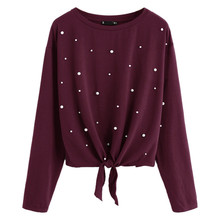 23533a9e3 Add to Wish List. 2019 poleras de mujer moda Women Casual Solid Beading  Knot Front Tops Long Sleeve Shirt O