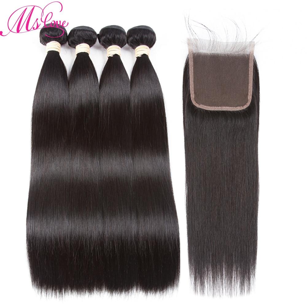 Ms Love paquetes de cabello humano con cierre 4 paquetes de armadura - Productos de belleza