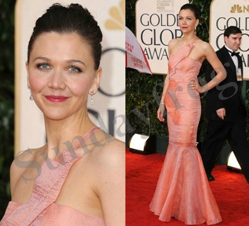 Maggie Gyllenhal 2010 Golden Globe Red Carpet Celebrity Dresses One-Shoulder Peach Taffeta Evening Dresses Formal Gown