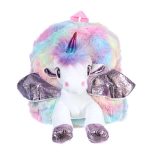 2019 New Unicorn Backpack School Bags For Teenage Girls Plush Mini Women Travel Backpacks Small Cute Mochila