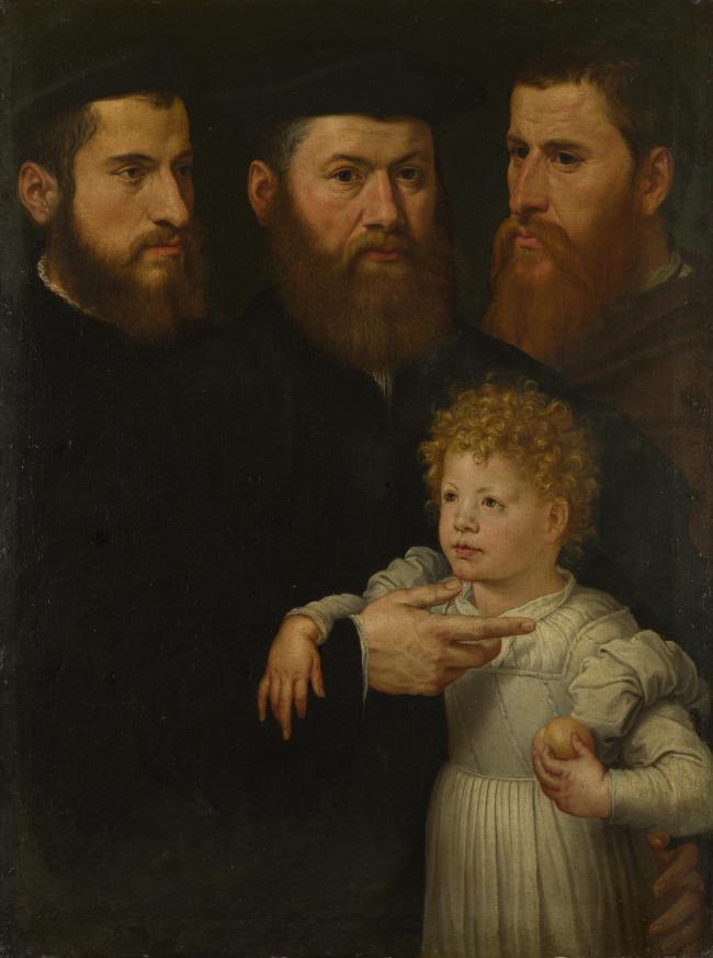 Peinture en gros # TOP art religieux-pays-bas-trois hommes et une petite fille peinture à l'huile sur toile---32