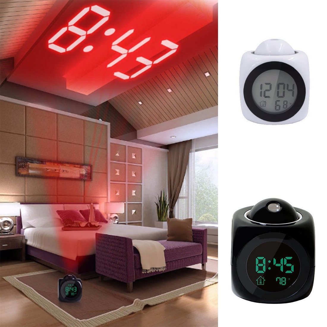 LCD Projection LED Display Time Digital Alarm Clock Talking Voice Prompt Thermometer Snooze Function Desktop Alarm Clock