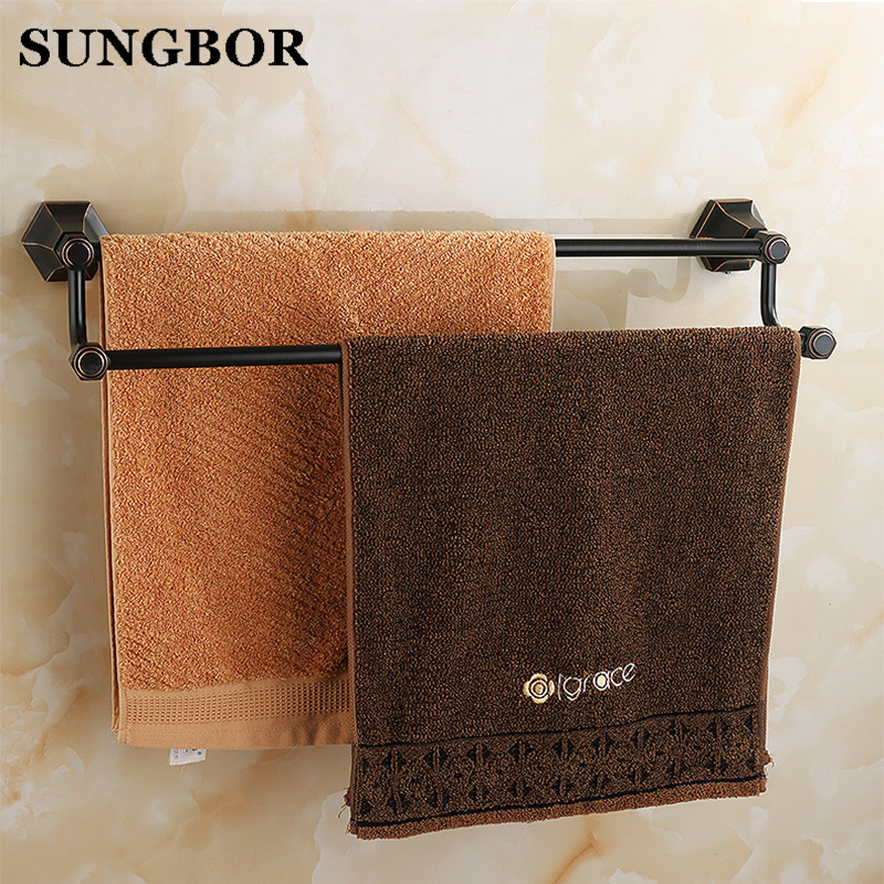 Bathroom accessories golden brass 60cm Double towel bars bathroom towel rack wall mounted antique bathroom towel bars shelf foldable antique copper bath towel rack wall mount active bathroom towel holder double towel shelf bathroom accessories sj6