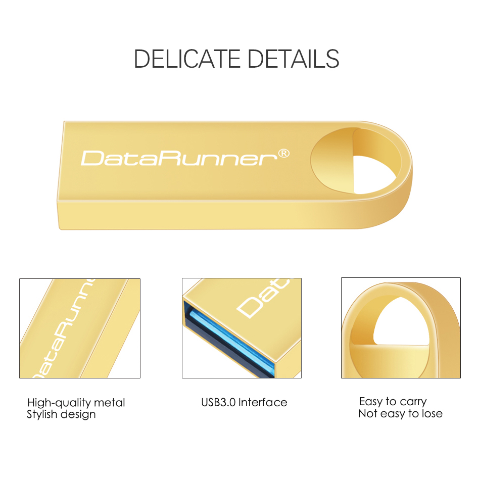 DataRunner High Speed USB Flash Drive Metal Pen Drive 8GB 16GB 32GB 64GB 128GB Pendrives Waterproof USB Stick 3 0 Memory Stick in USB Flash Drives from Computer Office