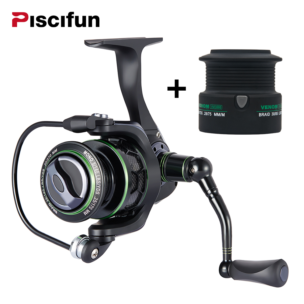 Piscifun 2017 New Venom Extra Spool Water Resistant Spinning Reel Max Drag 12Kg Carbon Drag 10+1 Bearings Carp Spinning Reel piscifun 2017 venom water resistant spinning reel max drag 12kg carbon drag 10 1 ball bearings sea boat spinning fishing reel