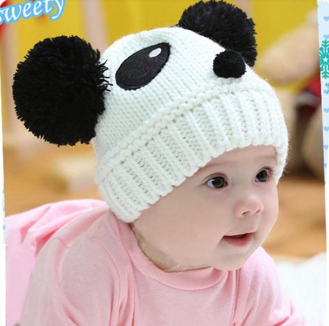 40cc916ebc4 Baby Hats Knitted Autumn Winter Baby Caps For Boys Girls Children s Cute  Pandas Winter Hats Toucas De Inverno Feminina  7919