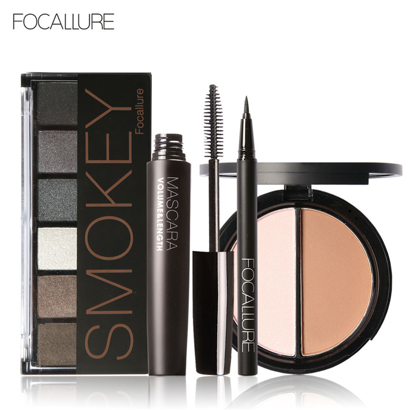 FOCALLURE 6 Warm Nude Eyeshadow Palette Black Volume Mascara Eyeliner Pen Double Colors Bronzer Highlighter Powder
