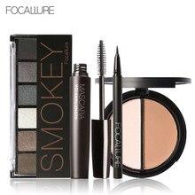 FOCALLURE 6 Warm Nude Eyeshadow Palette Black Volume Mascara Eyeliner Pen Double Colors Bronzer Highlighter Powder Makeup Kit