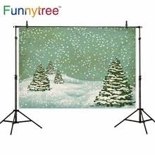 Funnytree backdrop para estúdio fotográfico cena da neve do inverno do Natal pinheiro pintura do vintage fundo photocall photobooth