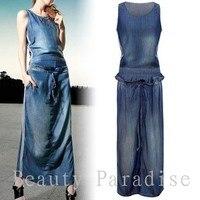 2014 Vestido Informal Cool Denim Dress Women Summer Dress Sashes Ruffled Fashion Casual Long Dress Plus