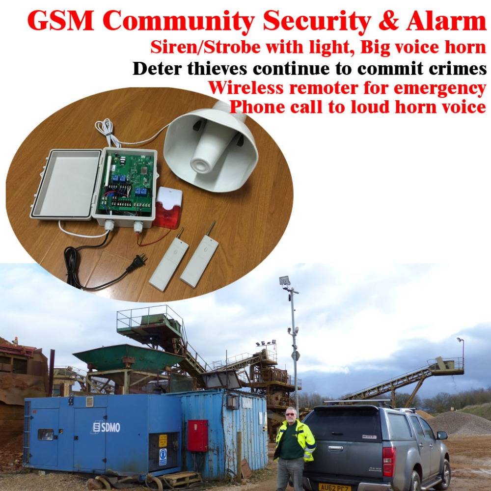 GSM-HORN GSM Neighborhood Community Alarm SMS Alarm Horn And Siren & Strobe With Light