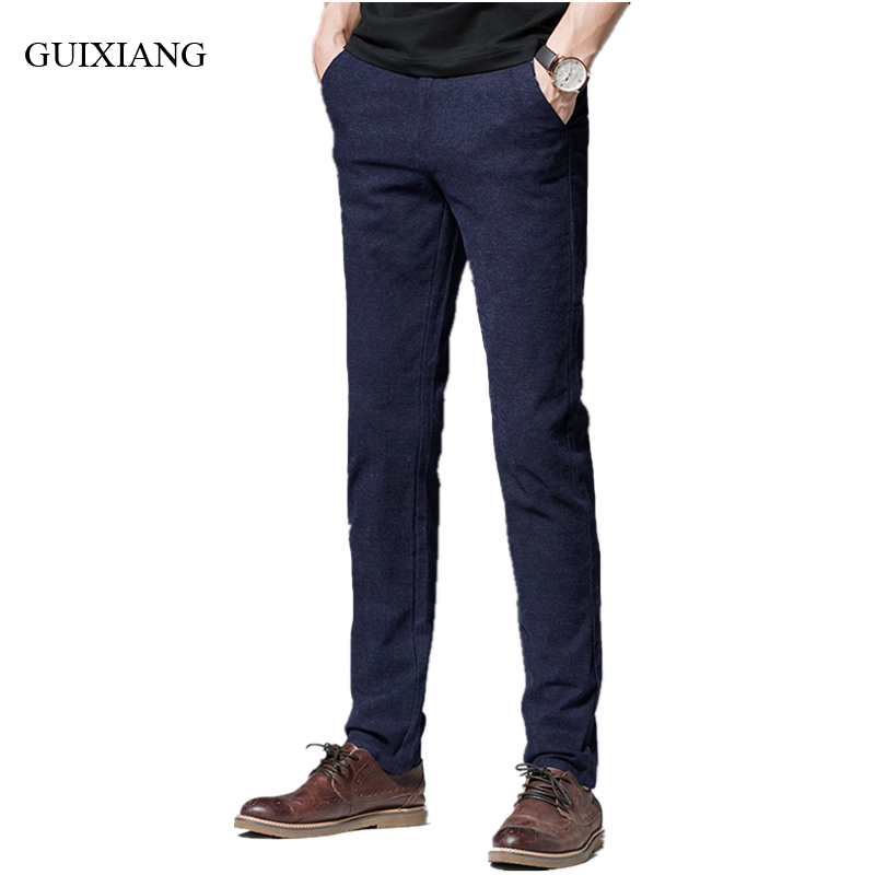 2017 new arrival style men high-end boutique trousers business casual sanding solid pants Cotton small straight pants size 28-38