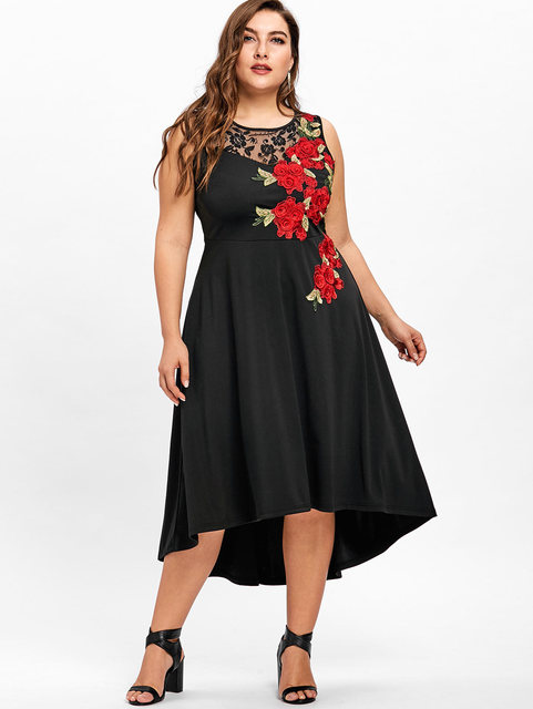Gamiss Plus Size 5XL Floral Embroidery High Low Vintage Party Dress  Vestidos Mujer Sleeveless Mid-Calf Ladies Lace Trim Dress a3d9e43d630d