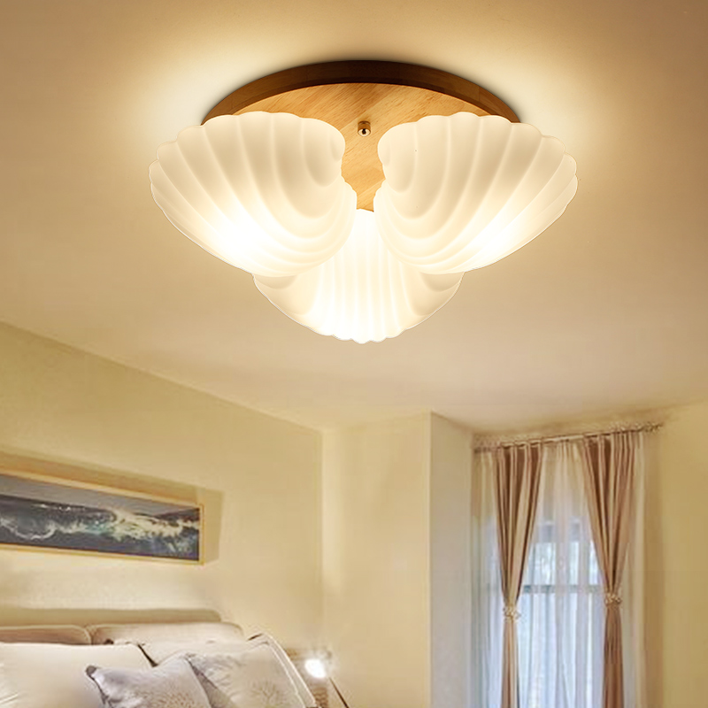 Nordic Shell Glass Ceiling Lights Fixture For Bedroom Kids Rooms Modern Ceiling Lamp For Children Rooms Glass Ceiling Lightings
