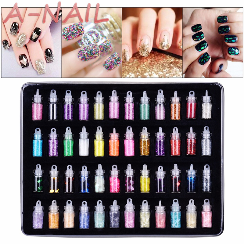 48 Bottles/Set  Arcylic Nail Glitter Set Dust Powder for Nail Art Tip Decoration Rhinestone Manicure  Nail Art Tools Wholesale beauty girl 2017 wholesale excellent 48bottles 3d decal stickers nail art tip diy decoration stamping manicure nail gliter
